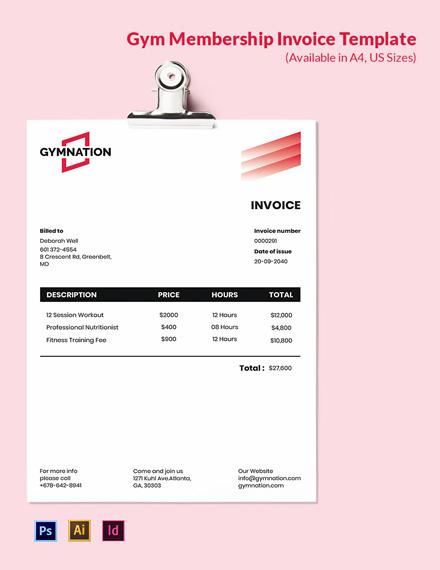 Gym Membership Invoice Template