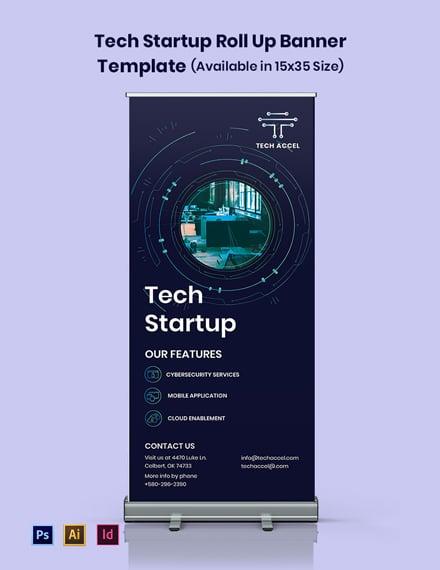 Tech Startup Roll Up Banner Template