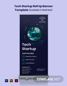Tech Startup Roll Up Banner Template