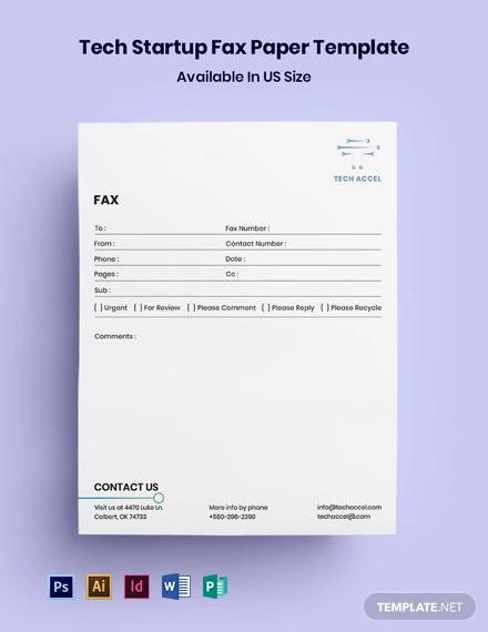 Tech Startup Fax Paper Template