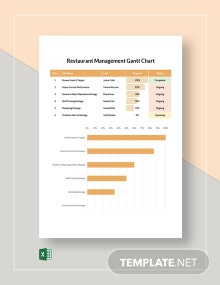 Restaurant Management Gantt Chart Template