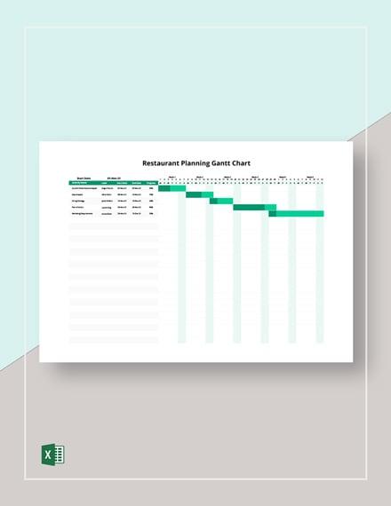 Restaurant Planning Gantt Chart Template