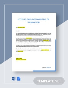 Letter To Employee For Notice Of Termination