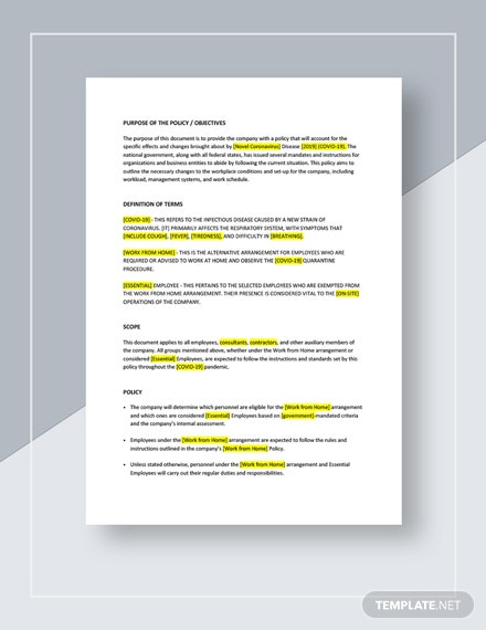 Coronavirus Workplace Policy Download