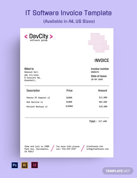 IT Software Invoice Template
