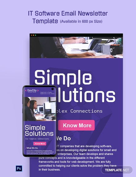 Free IT Software Email Newsletter Template