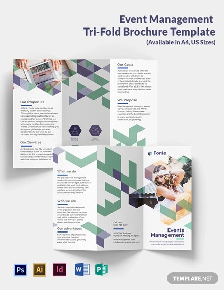 Event Management Tri-Fold Brochure Template