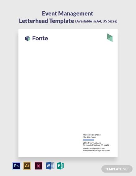 Event Management Letterhead Template