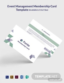 Free Event Management Membership Card Template