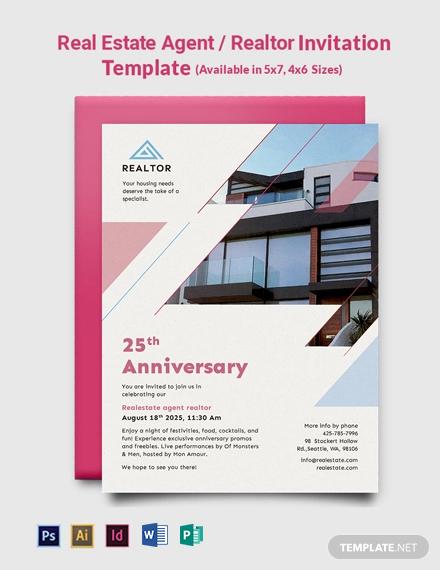 Real Estate Agent/Realtor Invitation Template