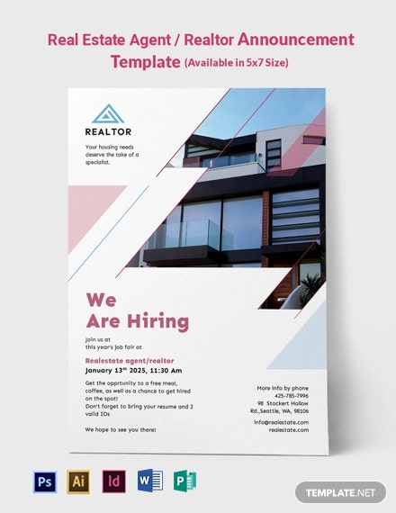 Real Estate Agent/Realtor Announcement Template
