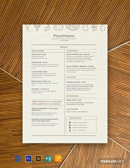 Free Pizza Menu Template