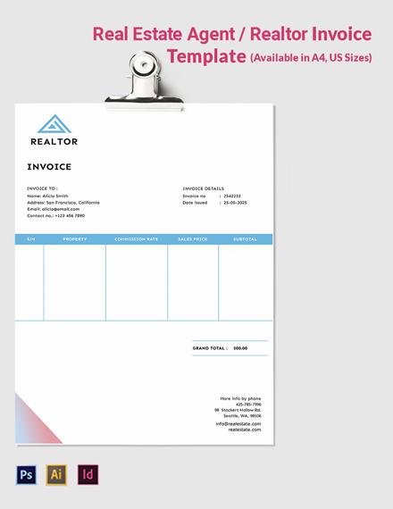 Real Estate Agent/Realtor Invoice Template