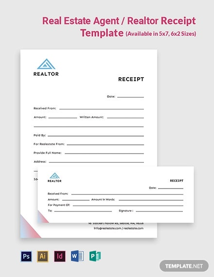 Real Estate AgentRealtor Receipt Template