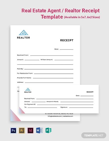 Real Estate Agent/Realtor Receipt Template