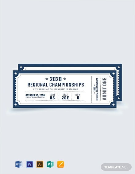 Free Blank Sports Ticket Template