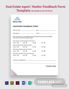 Real Estate Agent/Realtor Feedback Form Template