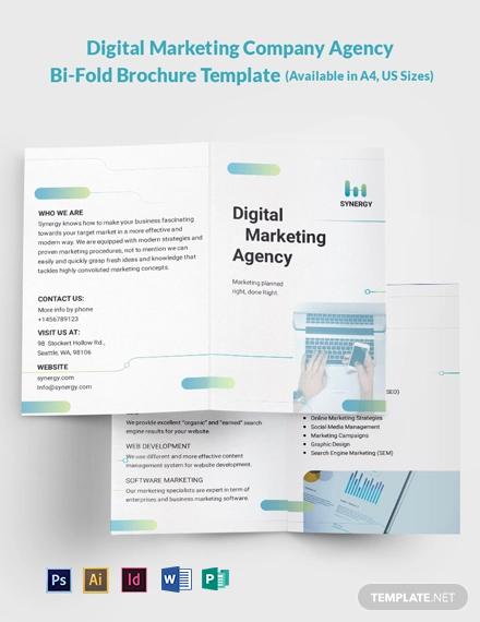 Digital Marketing Company Agency Bi-Fold Brochure Template