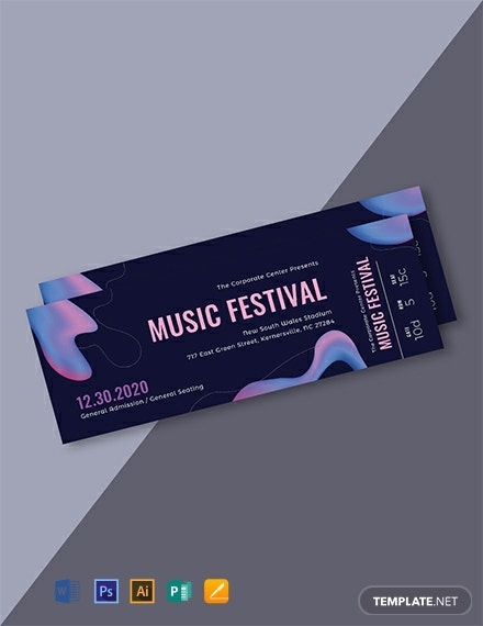 Free Modern Music Concert Ticket Template