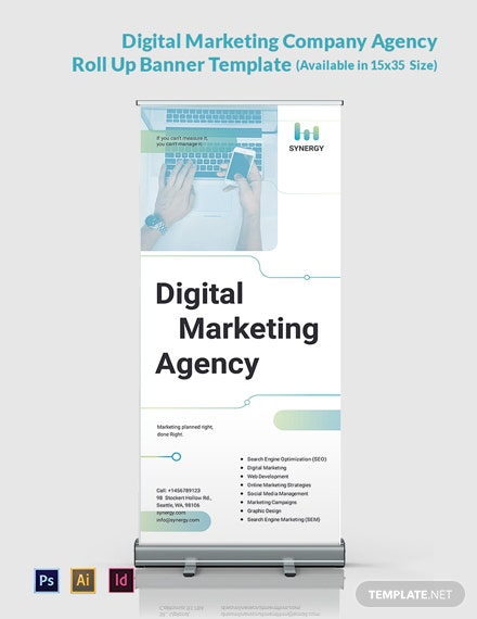 Digital Marketing Company Agency Roll Up Banner Template