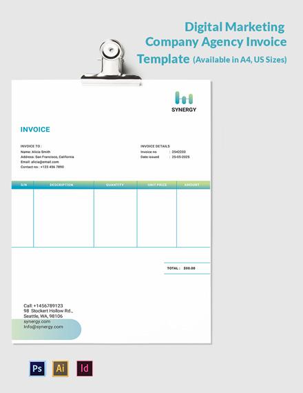 Digital Marketing Company Agency Invoice Template