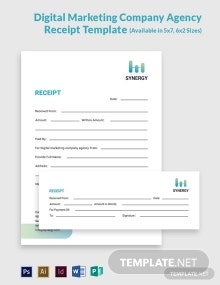 Digital Marketing Company Agency Receipt Template