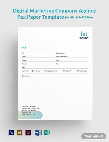 Digital Marketing Company Agency Fax Paper Template