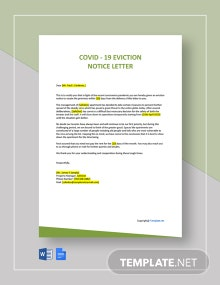 COVID-19 Eviction Notice Letter