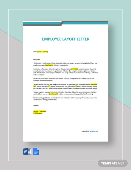 Employee Layoff Letter Template