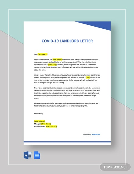 Free COVID-19 Landlord Letter