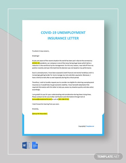 Free COVID Unemployment Insurance Letter