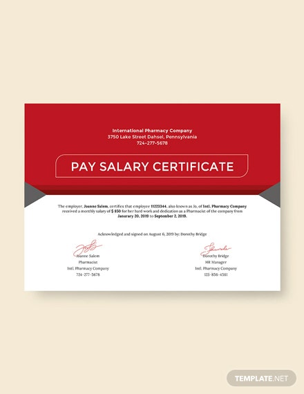 Free Salary Pay Certificate Template