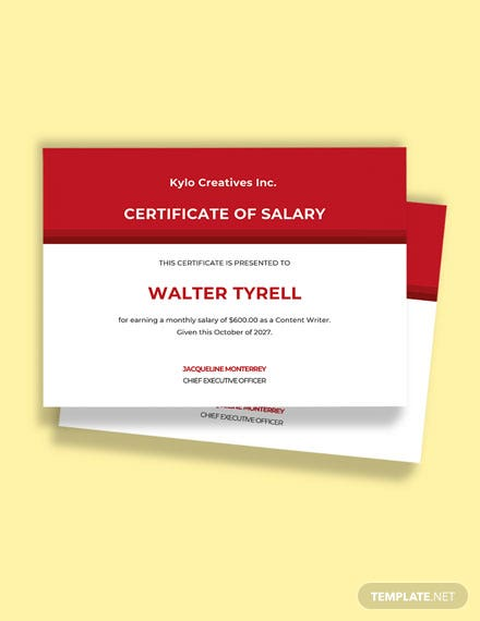 Free Salary Pay Certificate