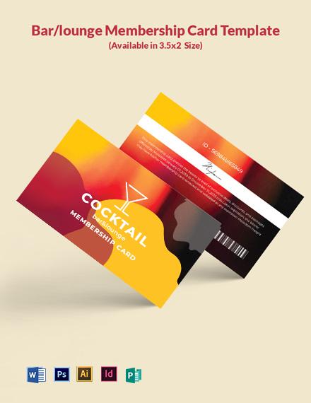 Free Bar/Lounge Membership Card Template