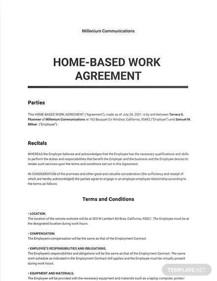 Home-based Work Agreement Template