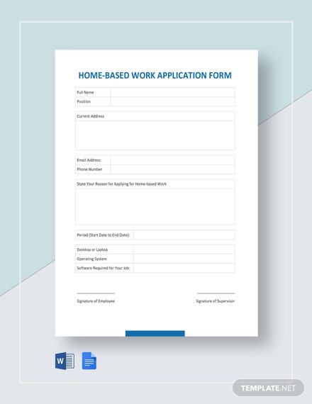 Home-based Work Application Form Template
