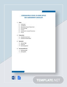 Coronavirus COVID-19 Home Office Self Assessment Checklist Template