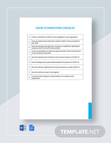 Free Coronavirus COVID-19 Inspection Checklist Template