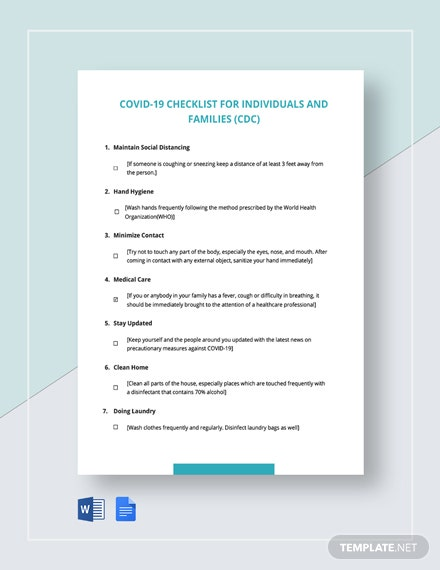 Coronavirus COVID-19 Checklist for Individuals and Families (CDC) Template