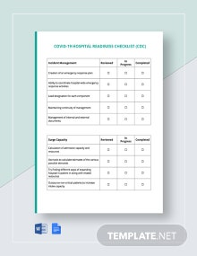 Coronavirus COVID-19 Hospital Readiness Checklist (CDC) Template