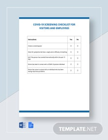 Free Coronavirus COVID-19 Screening Checklist for Visitors and Employees Template