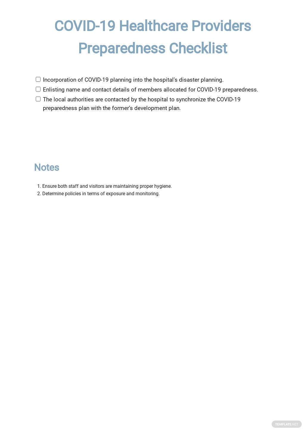 Coronavirus COVID-19 Healthcare Providers Preparedness Checklist (CDC) Template