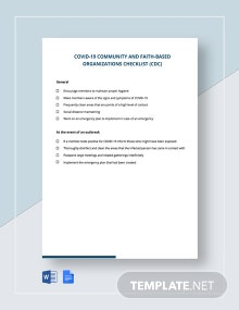 Coronavirus COVID-19 Community and Faith-based Organizations Checklist (CDC) Template