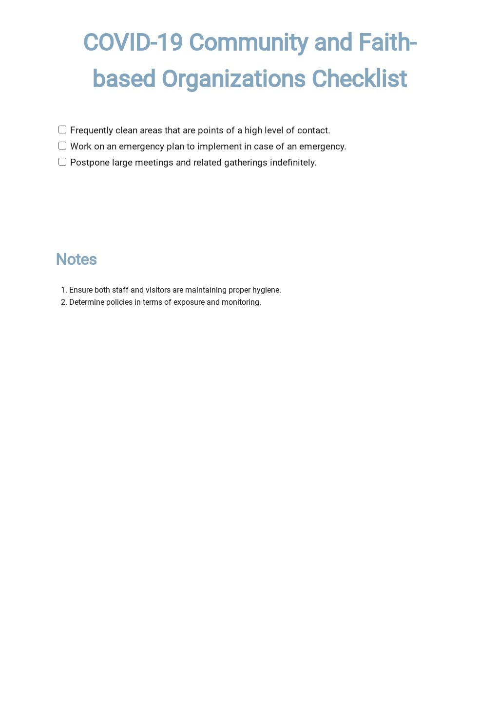 Coronavirus COVID-19 Community and Faith-based Organizations Checklist (CDC) Template