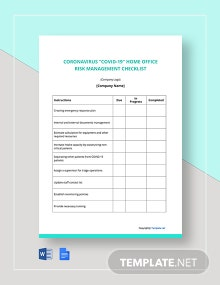 Coronavirus COVID-19 Home Office Risk Management Checklist Template