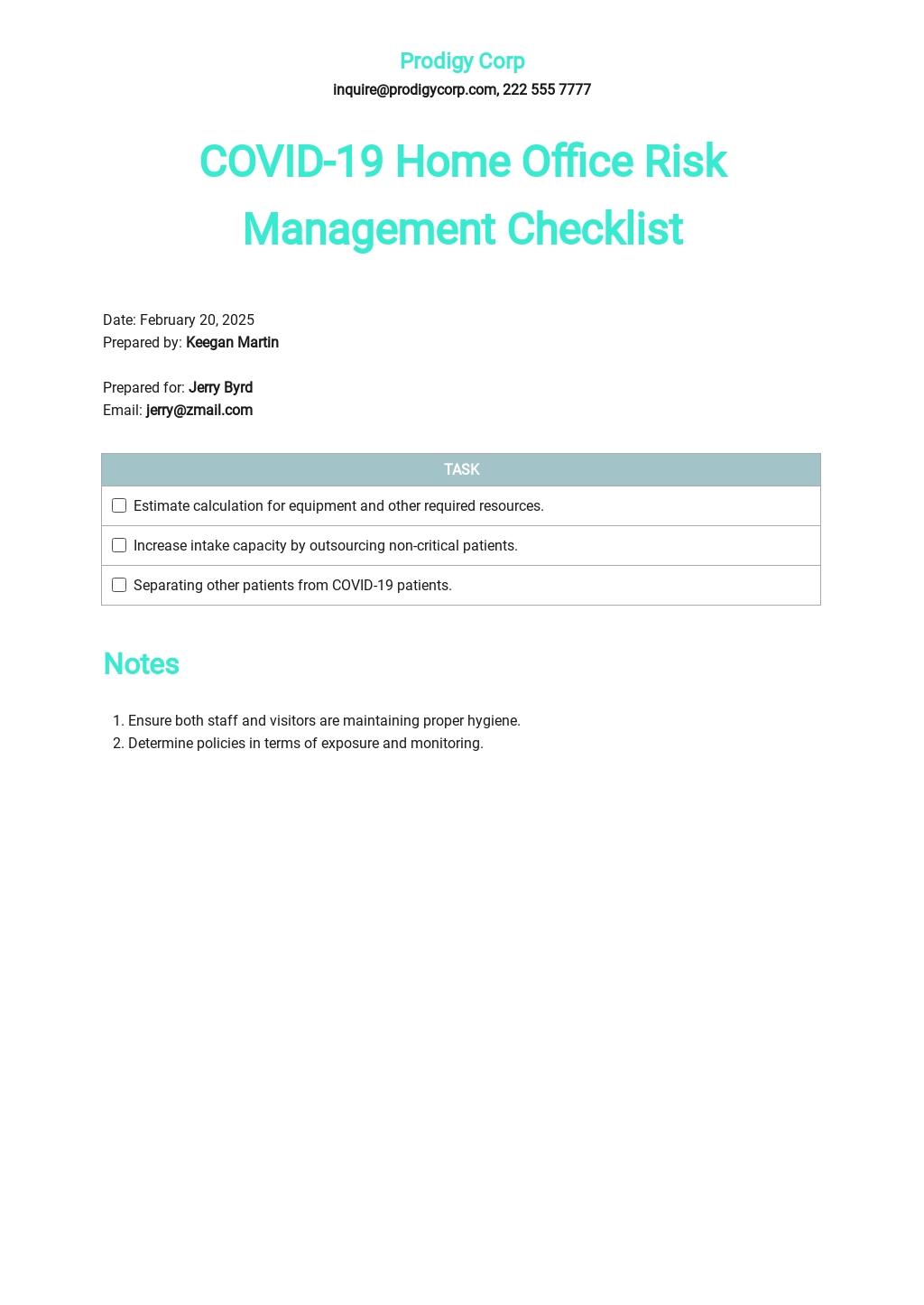 Coronavirus COVID-19 Home Office Risk Management Checklist Template