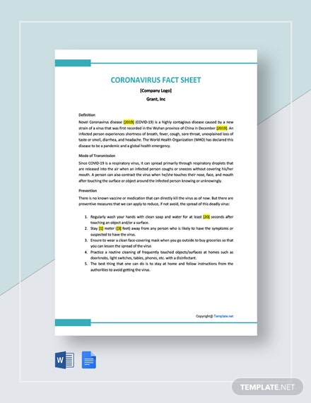 Free Coronavirus Fact Sheet Template