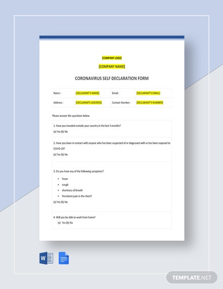 Coronavirus Self Declaration Form Template