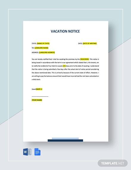 Notice To Vacate To Landlord Template