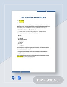 Notification of Coronavirus Template